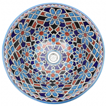 Moroccan Washbasin Sink Ceramic Wash Basin Hand Painted 50 cm  20'' Free Waste Included Ref. SW715